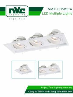 NMTLED5851A 9W, NMTLED5852A 2x9W, NMTLED5853A 3x9W - Đèn LED multiple downlight LED COB mặt lõm, mắt ngọc chống chói