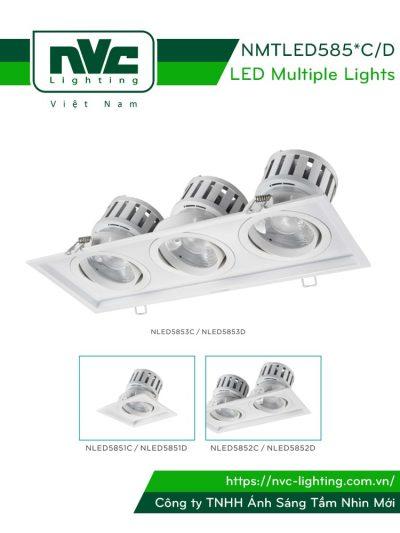 NMTLED5851C/D 24W/35W, NMTLED5852C/D 2x24W/35W, NMTLED5853C/D 3x24W/35W - Đèn LED multiple downlight LED COB mặt lõm, mắt ngọc chống chói