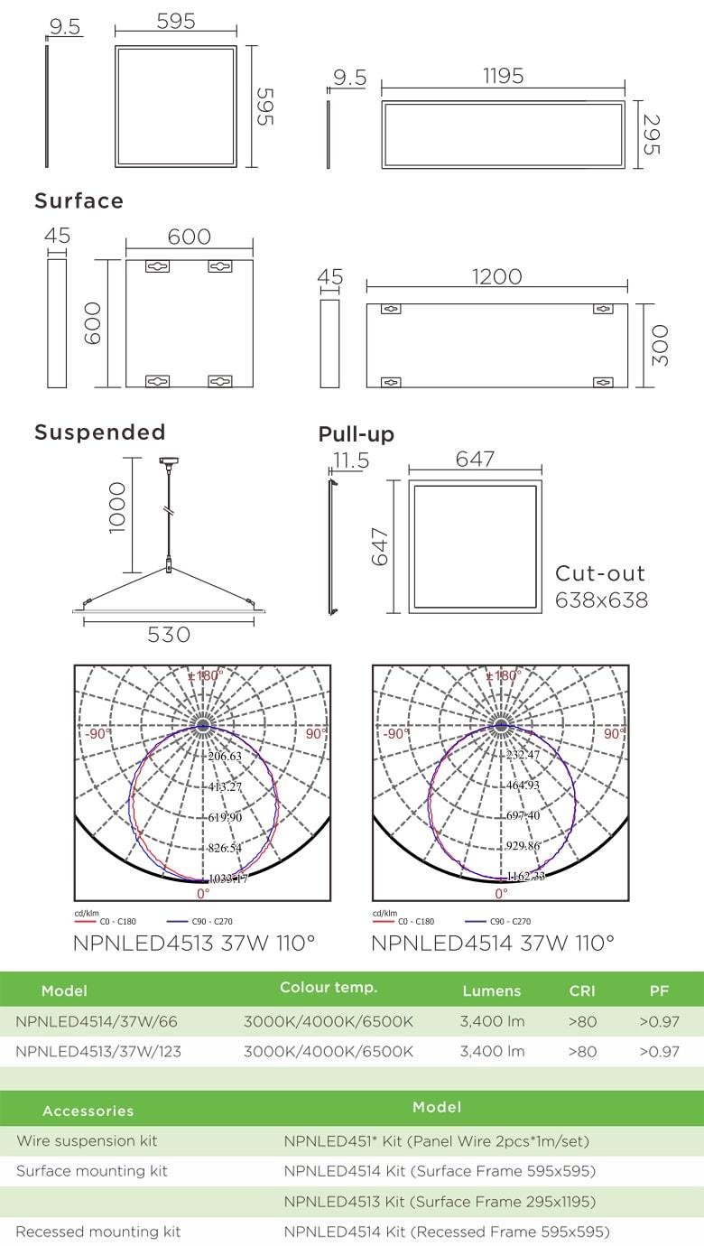 NPNLED4513 NPNLED4514 - Đèn LED panel 3 trong 1 (lắp âm, lắp nổi & treo) khung bằng nhôm đúc phủ sơn tĩnh điện cao cấp chống oxy hóa, góc chiếu 110°