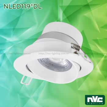 NLED119* Series - Đèn rọi âm trần LED COB liền khối, DIM theo số lần tắt/bật công tắc, vành xoay 30°, mắt ngọc chống chói, thân polycarbonate, chấn lưu liền