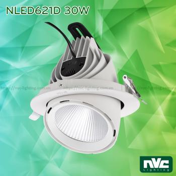NLED623D 10W, NLED622D 20W, NLED621D 30W - Đèn rọi âm trần LED COB, CRI 90, thân đèn & tản nhiệt bằng nhôm đúc nguyên khối, xoay ngang 350°, xoay dọc 60°, chấn lưu rời