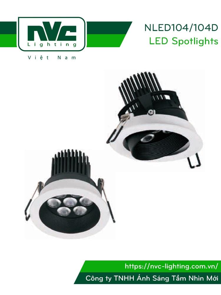 NLED104 NLED104D 7W 10W - Đèn spotlight âm trần LED, chip Cree cao cấp công nghệ WaveMax, NLED104D có vành xoay 23°, mặt lõm, vân tán quang