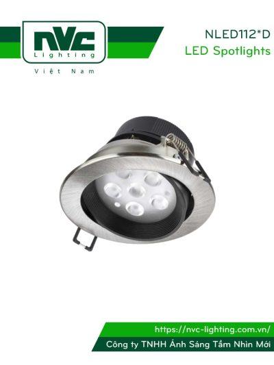 NLED1124D 4W, NLED1126D 7W, NLED1128D 9W - Đèn spotlight âm trần LED SMD nguyên khối, mặt lõm, vành xoay 60°, vân tán quang, chấn lưu liền