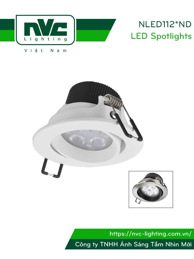 NLED1124ND 4W, NLED1126ND 6W, NLED1128 8W - Đèn spotlight âm trần LED SMD nguyên khối, vành xoay 60°, chấn lưu liền