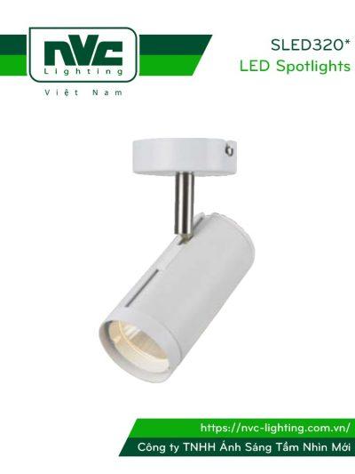 SLED320A 12W, SLED320B 18W, SLED320C 24W - Đèn rọi gắn tường COB liền khối, thân nhôm sơn tĩnh điện, trục xoay inox 430