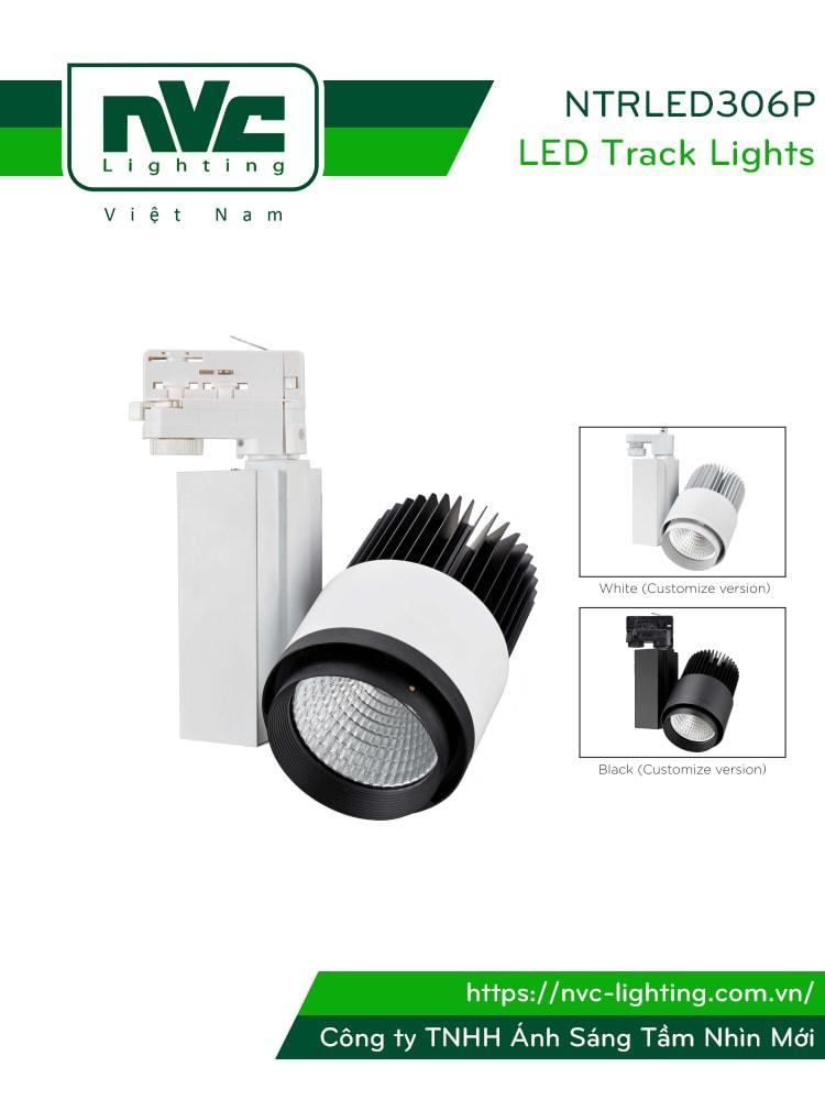 NTRLED306P - Đèn rọi ray COB nguyên khối, sơn tĩnh điện chống oxy hóa, vân tán sáng, góc chiếu 24°, 38°
