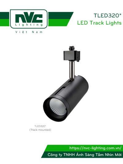 TLED320A 12W, TLED320B 18W, TLED320C 24W - Đèn rọi ray COB liền khối, thân nhôm sơn tĩnh điện, trục xoay inox 430