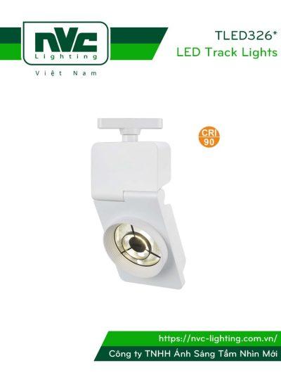 TLED326* - Đèn rọi ray COB liền khối, chóa chống chói, vân tán sáng, sơn tĩnh điện, CRI 90