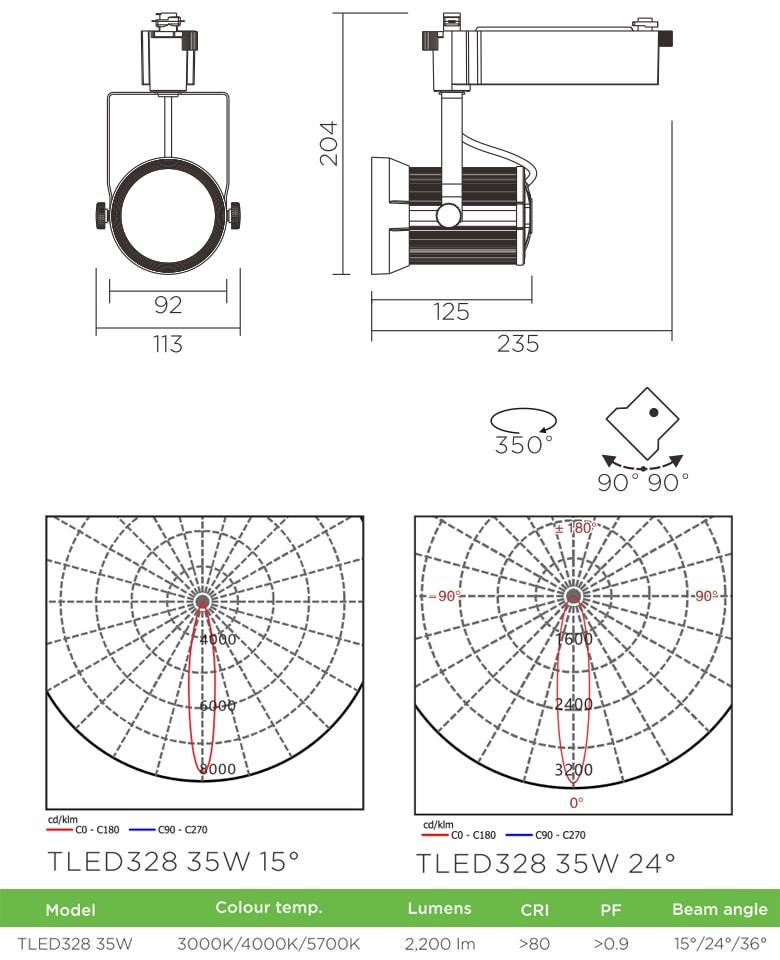 TLED328 - Đèn rọi ray SMD liền khối, vân tán sáng, thân nhôm đúc