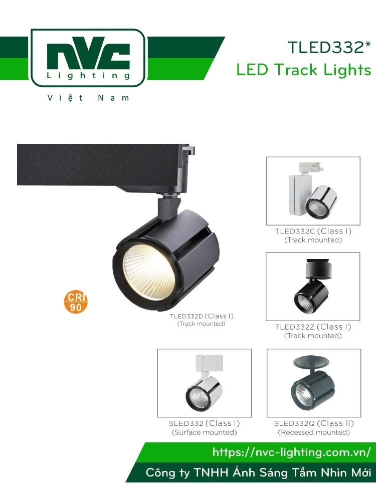 TLED332* - Đèn rọi ray COB nguyên khối 3 trong 1 (lắp ray, đế, âm trần), thân nhôm đúc sơn tĩnh điện, CRI 90