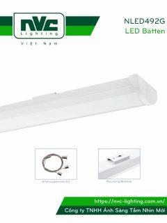 NLED492G 18W 36W - Đèn tuýp LED bán nguyệt lắp nổi/treo, thân thép sơn tĩnh điện, thích hợp dùng văn phòng cao cấp