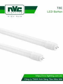 T8E - Bóng tuýp LED ống thẳng T8 thủy tinh tổng hợp pha nhựa chống dập vỡ, chóa nano phản quang, chip SMD 2835, góc chiếu 180°, tuổi thọ 25.000h, công suất 9W-18W, Ra > 70, PF > 0.9