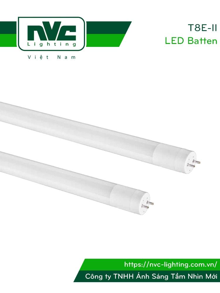 T8E-II - Bóng tuýp LED ống thẳng T8 thủy tinh tổng hợp pha nhựa chống dập vỡ, chóa nano phản quang, chip SMD 2835, góc chiếu 180°, tuổi thọ 25.000h, công suất 9W-18W, Ra > 70, PF > 0.5