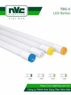 T8G-II - Bóng tuýp LED T8 ống thẳng series chụp nhựa cao cấp chống dập vỡ, chip SMD 2835, Ra 80, PF 0.95, công suất 9W-18W, đầu đui đèn có thể xoay tròn thuận tiện khi lắp đặt