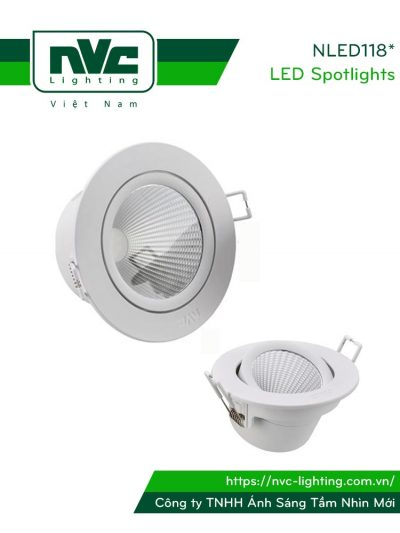 NLED1183 NLED1185 NLED1187 NLED1189 - Đèn rọi âm trần không nhiễu điện từ EMC/EMI chuẩn CE nhập khẩu Châu Âu, thân & tản nhiệt nhôm cán, vành nhựa, góc chiếu 38°, CRI >80