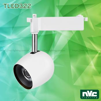 TLED322* 12W 24W, CRI 93 - Đèn rọi ray LED COB liền khối, chóa chống chói, vân tán sáng, trục xoay inox 430