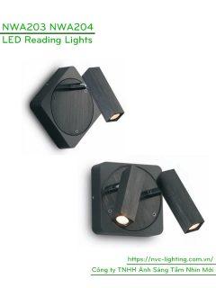 NWA203 3W, NWA204 2x3W - Đèn đọc sách gắn tường thân aluminum dáng vuông, quang thông tương ứng 120lm 240lm, góc chiếu 30 độ, chip Cree không rung nháy, bảo vệ mắt