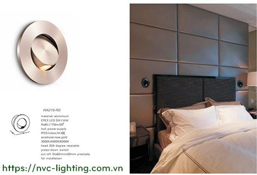 NWA219-RD/WT/CR/SL/BK – Đèn đọc sách cá nhân gắn đầu giường 3W 170 lumens, lắp âm tường mặt tròn, góc chiếu 30 độ, công tắc tắt bật tích hợp khi ấn mặt đèn