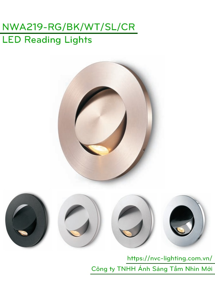 NWA219-RD/WT/CR/SL/BK - Đèn đọc sách cá nhân gắn đầu giường 3W 170 lumens, lắp âm tường mặt tròn, góc chiếu 30 độ, công tắc tắt bật tích hợp khi ấn mặt đèn