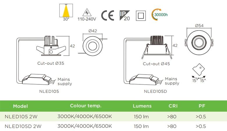 NLED105 NLED105D 2W - Đèn rọi tủ rượu LED COB nguyên khối, mắt vân kim cương chống chói, NLED105D có vành xoay 60°, mặt và tản nhiệt bằng nhôm đúc, chấn lưu rời