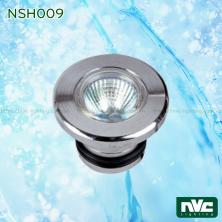 NSH009 lắp bóng rời MR16 halogen max 35W hoặc LED max 6W - Đèn LED âm nước, lắp bể bơi max 1.5m, thân inox 316, kính cường lực