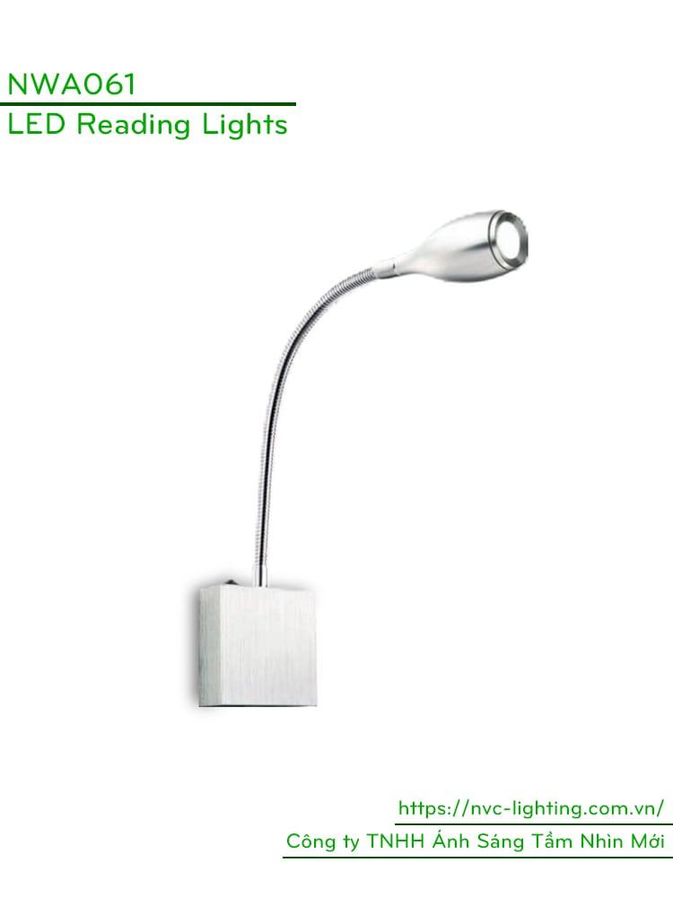 NWA061 - Đèn đọc sách cá nhân 3W 170lm, gắn đầu giường, màu chrome, góc chiếu 30 độ, chip Cree không rung nháy, bảo vệ mắt, công tắc cơ tắt bật trên thân đèn