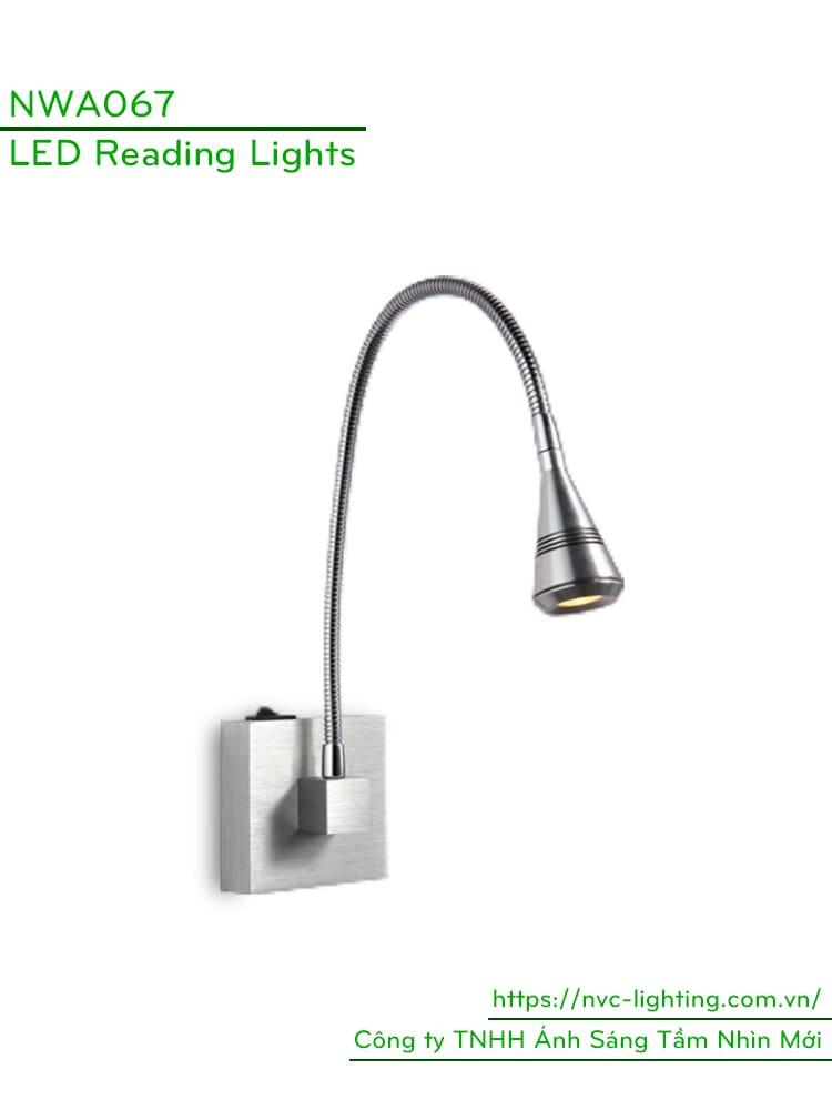 NWA067 - Đèn đọc sách cá nhân 3W 170lm, gắn đầu giường, màu chrome, góc chiếu 30 độ, chip Cree không rung nháy, bảo vệ mắt, công tắc cơ tắt/bật trên thân đèn