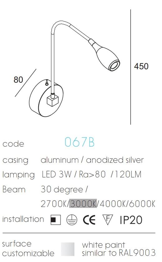 NWA067B - Đèn đọc sách cá nhân, gắn đầu giường, màu chrome, độ sáng 170 lumens, góc chiếu 30 độ, chip Cree không rung nháy, bảo vệ mắt, công tắc tắt bật cơ trên thân đèn