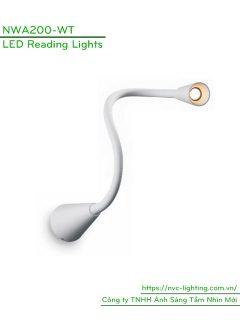 NWA200-BK/WT - Đèn đọc sách cá nhân gắn đầu giường 3W 170lm dạng cổ ngỗng, góc chiếu 30 độ, chip Cree không rung nháy, bảo vệ mắt