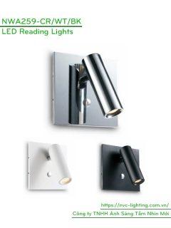 NWA259-CR/BK/WT - Đèn đọc sách gắn tường 3W 170 lumens, đế vuông lắp âm, công tắc cảm ứng chạm tắt bật, chip Cree chống chói, góc chiếu 30 độ
