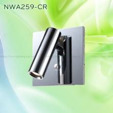 NWA259-CR/BK/WT - Đèn đọc sách gắn tường 3W 170 lumens, đế vuông lắp âm, công tắc cảm ứng chạm tắt bật, chip Cree chống chói, chống cận, góc chiếu 30 độ