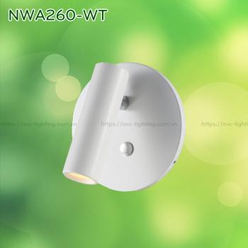 NWA260-CR/BK/WT - Đèn đọc sách gắn tường 3W 170 lumens, đế tròn lắp âm, công tắc cảm ứng chạm tắt bật, chip Cree chống chói, góc chiếu 30 độ