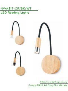NWA317-CR/BK/WT - Đèn đọc sách gắn nổi đầu giường công suất 3W 120lm, Ra > 80, góc chiếu 30 độ, IP20, công tắc cảm ứng, vỏ đèn nhôm sơn vân gỗ sồi