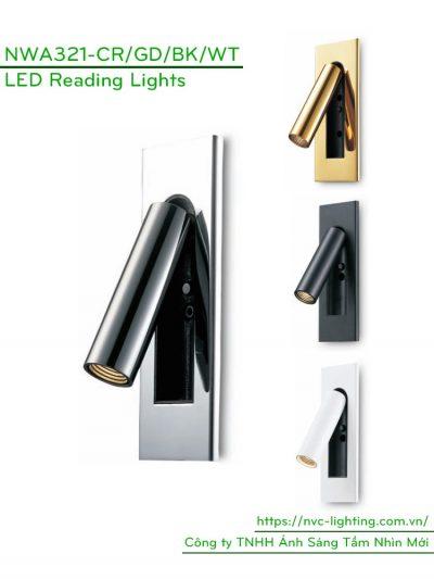 NWA321-GD/CR/BK/WT - Đèn đọc sách gắn âm đầu giường công suất 3W, Ra > 80, độ sáng 120lm, góc chiếu 30 độ, IP20, công tắc tự động tắt/bật trên thân đèn