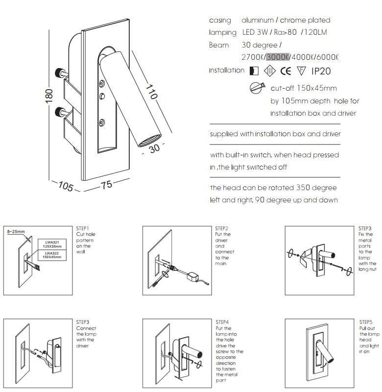 NWA322-GD/CR/BK/WT - Đèn đọc sách gắn âm đầu giường công suất 3W, Ra > 80, độ sáng 120lm, góc chiếu 30 độ, IP20, công tắc tự động tắt/bật trên thân đèn