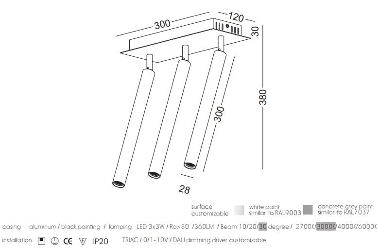 NBL199 3x3W - Đèn gương gắn trần chip Cree cao cấp Ra 80, thân nhôm cao cấp sơn tĩnh điện đen, góc chiếu 10/20/30 độ