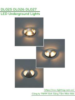 DL025 DL026 DL027 3W - Đèn LED âm đất chiếu lối đi 2-3 hoặc 4 hướng, 120 lumens, Ra > 80, thân nhôm bạc anodized, IP67