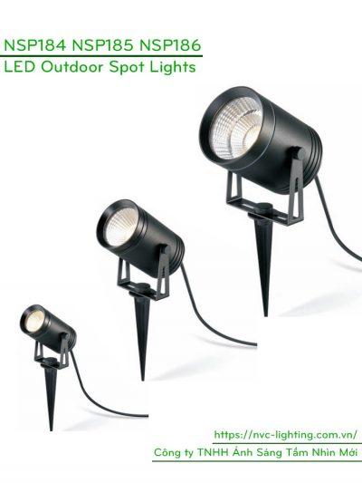 NSP184 6W, NSP185 9W, NSP186 12W – Đèn cắm cỏ rọi cây IP65, độ sáng 500lm 800lm 900lm, chip Cree, Ra 90, nguồn AC 220V-240V hoặc DC 12V/24V, góc chiếu sáng 15/24/38/60 độ