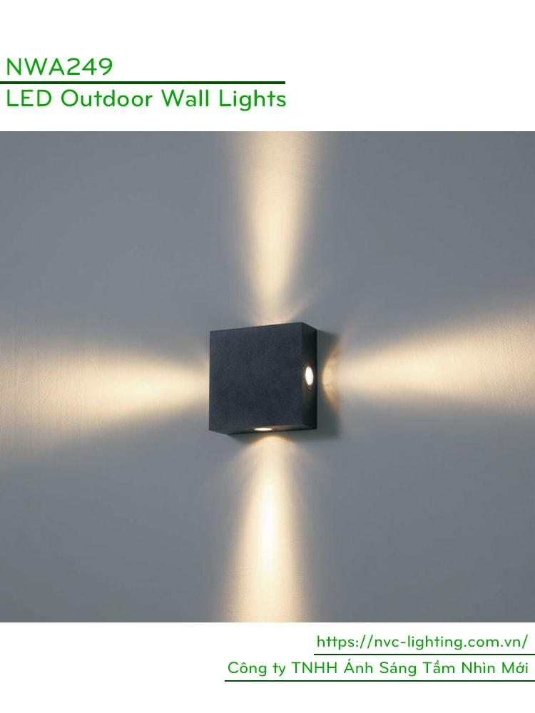 NWA249 - Đèn LED gắn tường chip Cree 4x3W, chiếu sáng 4 hướng, IP65 dùng ngoài trời