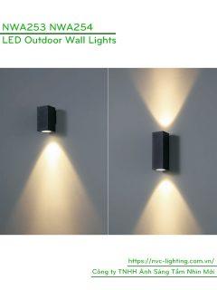 NWA253 COB 6W, NWA254 COB 2x6W - Đèn LED gắn tường ngoài trời thân vuông, chất lượng ánh sáng Ra > 90, độ sáng 430lm & 860lm, IP65