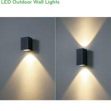 NWA255 COB 12W, NWA256 COB 2x12W - Đèn LED gắn tường ngoài trời thân vuông, chất lượng ánh sáng Ra > 90, độ sáng 900lm & 1800lm, IP65