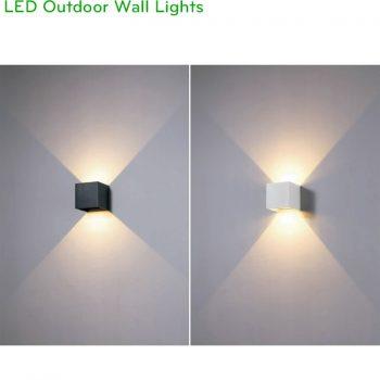 NWA288-BK/WT – Đèn LED gắn tường ngoài trời IP65 thân vuông, chiếu 2 đầu công suất 2x3W, Ra > 80, độ sáng 600lm, góc chiếu điều chỉnh từ 5 - 120 độ