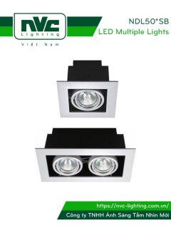 NDL501SB NDL502SB - Đèn multiple downlight âm trần COB đơn bóng hoặc đôi bóng, 2 vành xoay, bóng lắp rời MR16