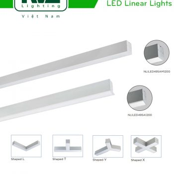 NLILED495 18W 30W - Đèn LED thanh văn phòng lắp âm, lắp treo hoặc thả trần, ghép nối