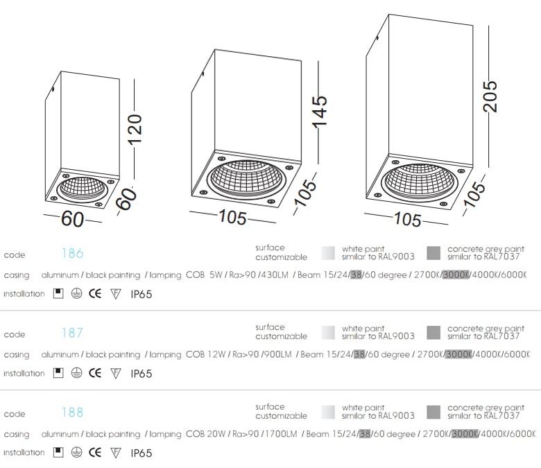 NBL186 5W, NBL187 12W, NBL188 20W - Đèn lon nổi vuông, lắp mái hiên, canopy, độ sáng tương ứng 430lm 900lm 1700lm, chip Cree cao cấp Ra 90, dùng ngoài trời IP65