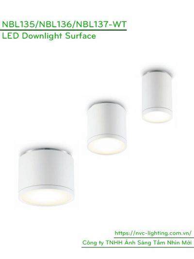 NBL135 5W, NBL136 9W, NBL137 12W - Đèn ống bơ độ sáng tương ứng 430lm 800lm 900lm, Ra 90, acrylic cover, IP20