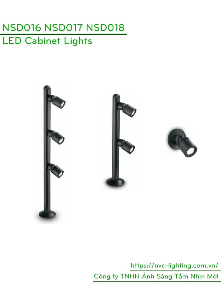 NSD016 1W, NSD017 2x1W, NSD018 3x1W - Đèn gắn tủ kính chiếu sáng trang sức, tủ vàng bạc, đá quý