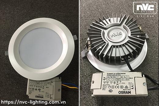 NLED9244 NLED9245 NLED9246 NLED9248 – Đèn LED downlight âm trần mặt lõm, kính mờ chống chói, đế tản nhiệt bằng hợp kim nhôm đúc cao cấp, chấn lưu rời