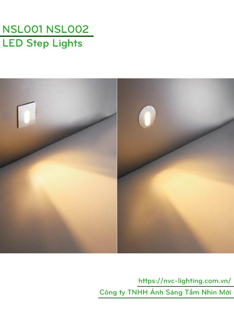 NSL001 NSL002 1W - Đèn chân cầu thang trong nhà, mặt nhôm xước hình vuông hoặc tròn, Ra > 80, độ sáng 70lm, 60 độ, IP20