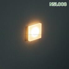 NSL008 NSL009 1W - Đèn âm bậc cầu thang trong nhà mặt vuông bằng anodized silver hoặc aluminum, Ra 80, độ sáng 70lm, góc chiếu 60 độ, IP20